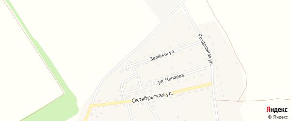 Зеленая улица на карте Октябрьского поселка с номерами домов