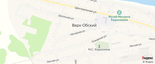 Нагорная улица на карте Верха-Обского поселка с номерами домов