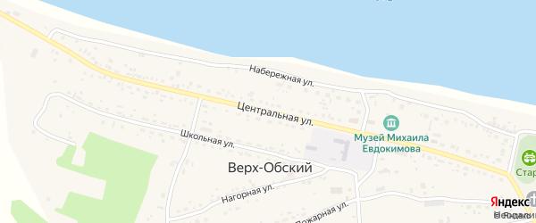 Центральная улица на карте Верха-Обского поселка с номерами домов