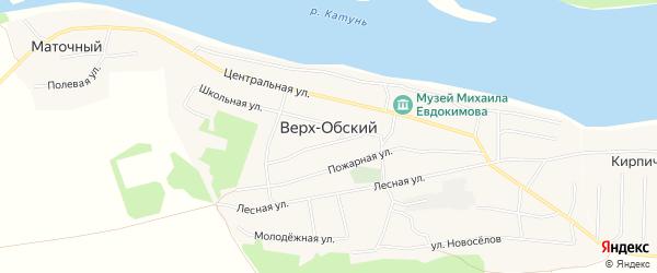 Карта Верха-Обского поселка в Алтайском крае с улицами и номерами домов