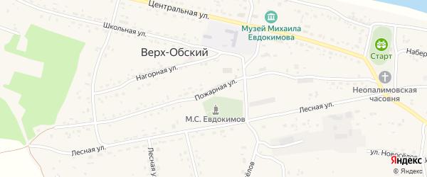 Пожарная улица на карте Верха-Обского поселка с номерами домов
