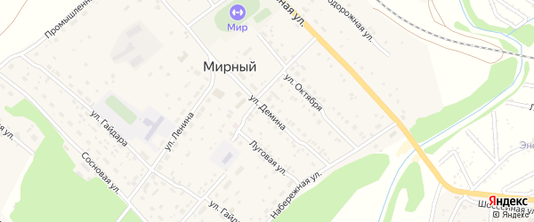 Улица Демина на карте Мирного поселка с номерами домов