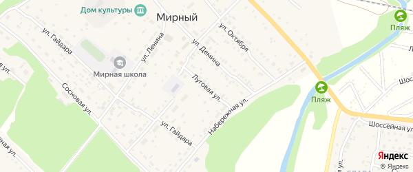 Луговая улица на карте Мирного поселка с номерами домов