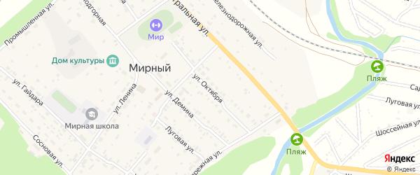 Улица Октября на карте Мирного поселка с номерами домов