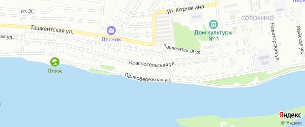 Красносельская улица на карте Бийска с номерами домов