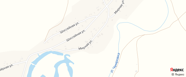 Мирная улица на карте села Новой Чемровки с номерами домов