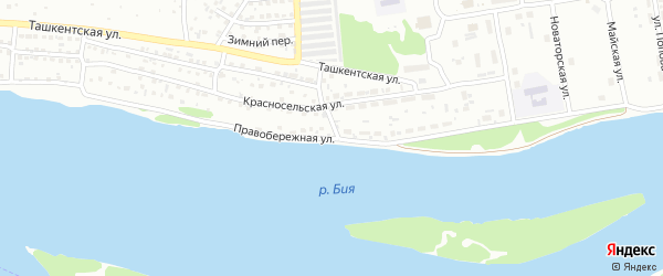 Правобережная улица на карте Бийска с номерами домов
