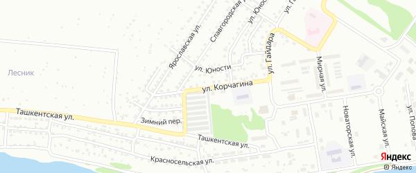 Улица Павла Корчагина на карте Бийска с номерами домов