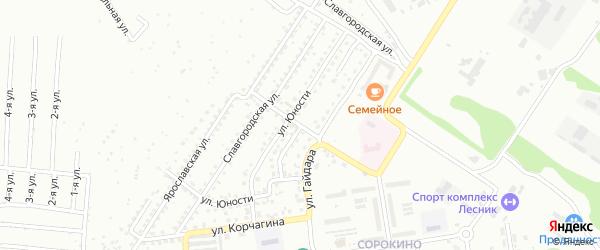 Рельефный переулок на карте Бийска с номерами домов