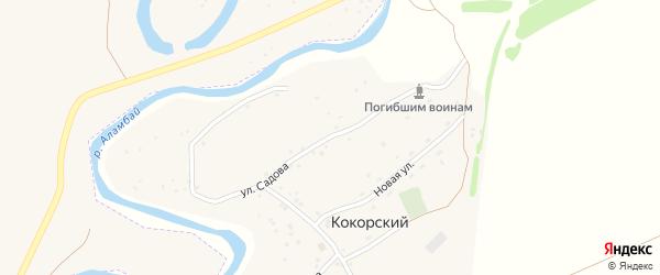 Улица Садова на карте поселка Кокорского с номерами домов