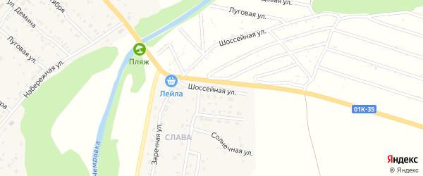 Шоссейная улица на карте Мирного поселка с номерами домов