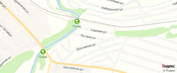 Луговая улица на карте территории сдт Железнодорожника с номерами домов