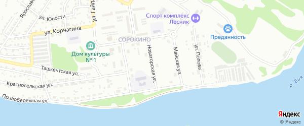 Новаторская улица на карте Бийска с номерами домов