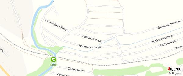 Яблоневая улица на карте территории сдт Железнодорожника с номерами домов