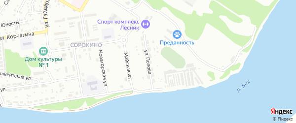 Улица Андрея Попова на карте Бийска с номерами домов