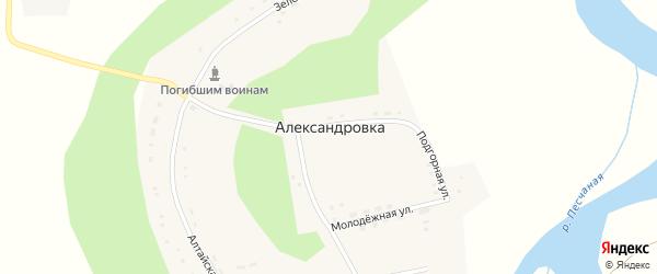 Зеленая улица на карте села Александровки с номерами домов
