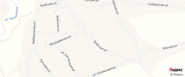 Бийская улица на карте села Новой Чемровки с номерами домов