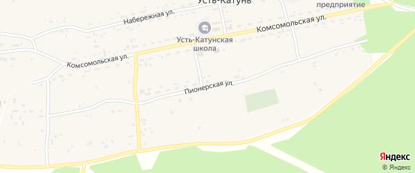 Пионерская улица на карте поселка Усть-Катунь с номерами домов