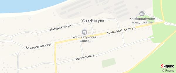 Комсомольская улица на карте поселка Усть-Катунь с номерами домов