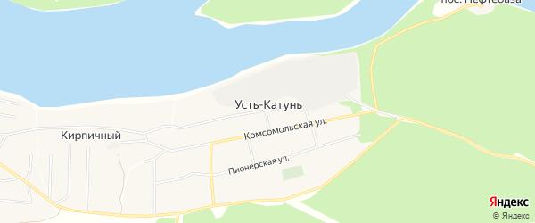 Карта поселка Усть-Катунь в Алтайском крае с улицами и номерами домов