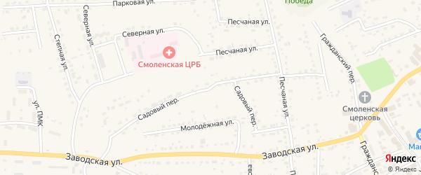 Садовый переулок на карте Смоленского села с номерами домов