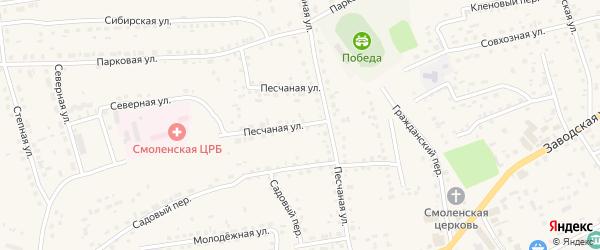 Песчаная улица на карте Смоленского села с номерами домов