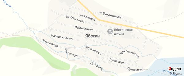 Карта села Ябогана в Алтае с улицами и номерами домов
