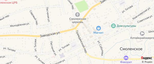 Гражданский переулок на карте Смоленского села с номерами домов