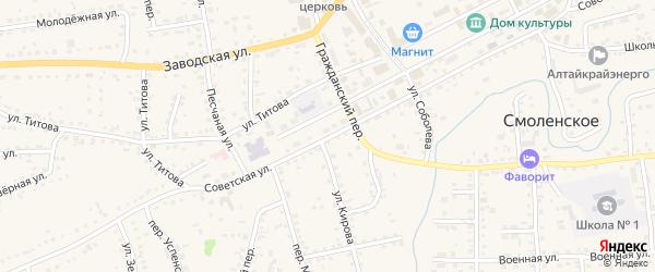Советская улица на карте Смоленского села с номерами домов