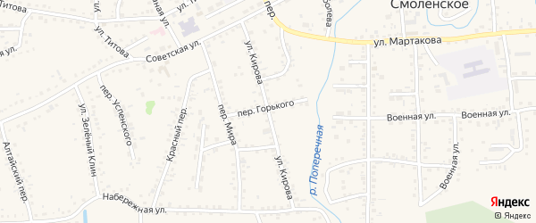 Улица Кирова на карте Смоленского села с номерами домов