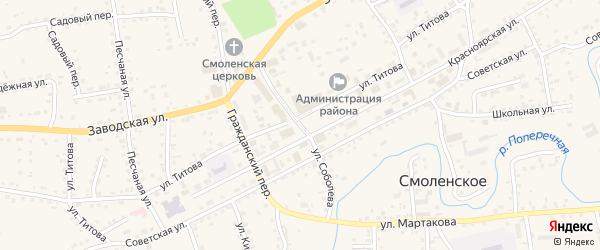 Улица Соболева на карте Смоленского села с номерами домов
