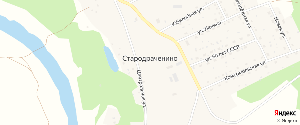 Центральная улица на карте села Стародраченино с номерами домов