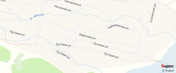 Заречная улица на карте села Ябогана с номерами домов