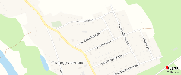Юбилейная улица на карте села Стародраченино с номерами домов