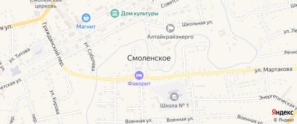 Микрорайон ПМК на карте Смоленского села с номерами домов