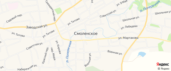 Карта Смоленского села в Алтайском крае с улицами и номерами домов