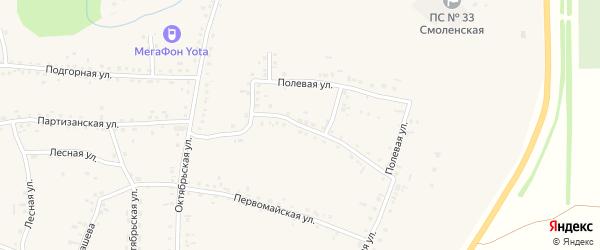 Пионерская улица на карте Смоленского села с номерами домов