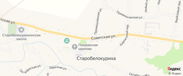 Советская улица на карте села Старобелокурихи с номерами домов