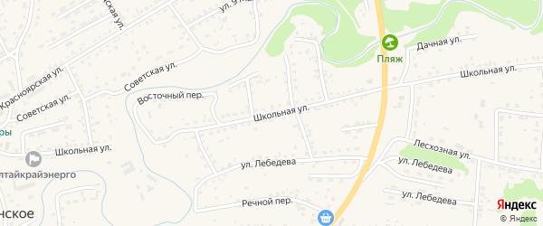 Школьная улица на карте Смоленского села с номерами домов