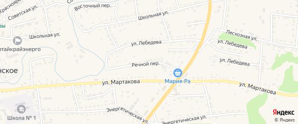 Речной переулок на карте Смоленского села с номерами домов