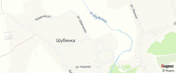 Улица Шевченко на карте села Шубенки с номерами домов