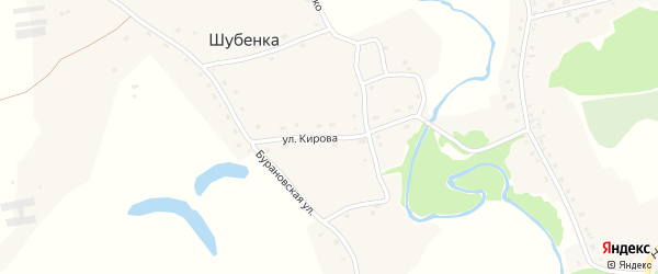 Улица Кирова на карте села Шубенки с номерами домов