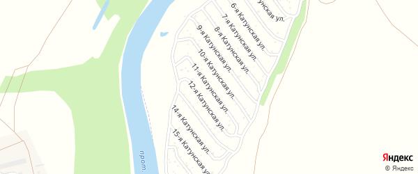 11-я Катунская улица на карте садового некоммерческого товарищества Катунские зори с номерами домов