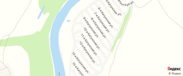 10-я Катунская улица на карте садового некоммерческого товарищества Катунские зори с номерами домов