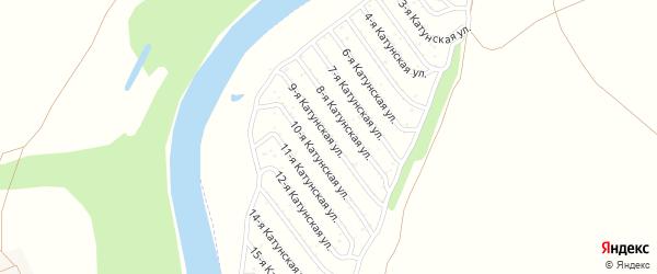 9-я Катунская улица на карте садового некоммерческого товарищества Катунские зори с номерами домов