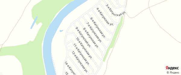 8-я Катунская улица на карте садового некоммерческого товарищества Катунские зори с номерами домов