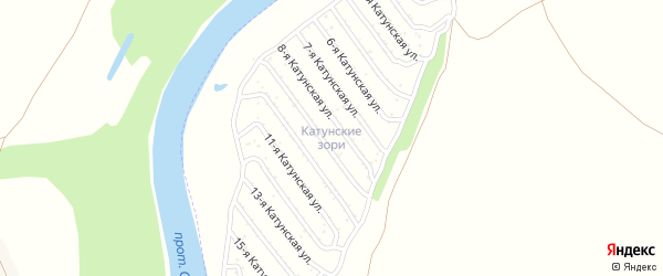 13-я Катунская улица на карте садового некоммерческого товарищества Катунские зори с номерами домов