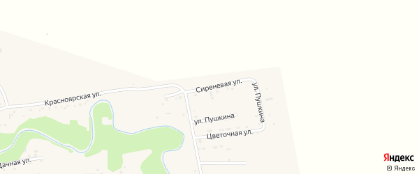 Сиреневая улица на карте Смоленского села с номерами домов