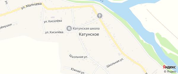 Школьная улица на карте Катунского села с номерами домов