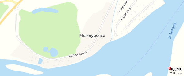 Береговая улица на карте поселка Междуречья с номерами домов